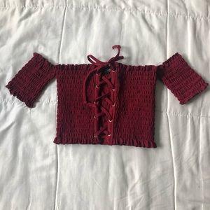 Red/burgundy Crop top super stretch!
